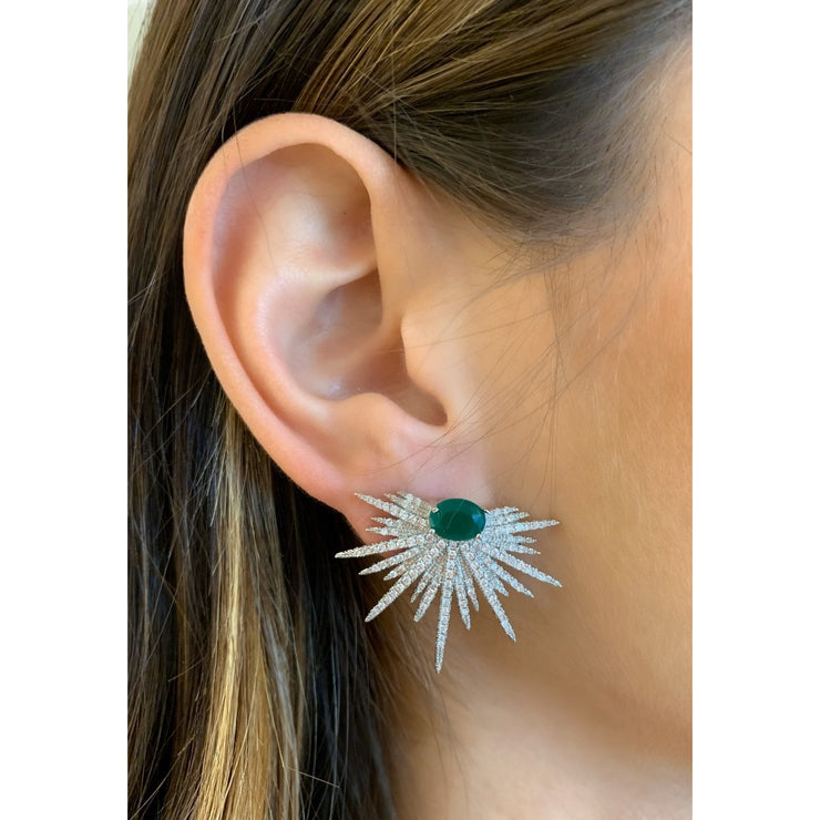 Emerald Deco Burst Earrings