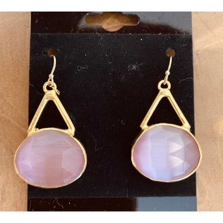Pastel Pink Oval Rose Quartz Earrings