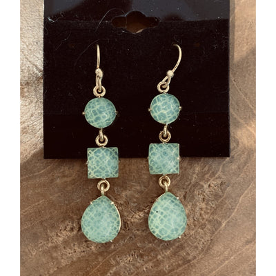 Pastel Green Triple Drop Earrings
