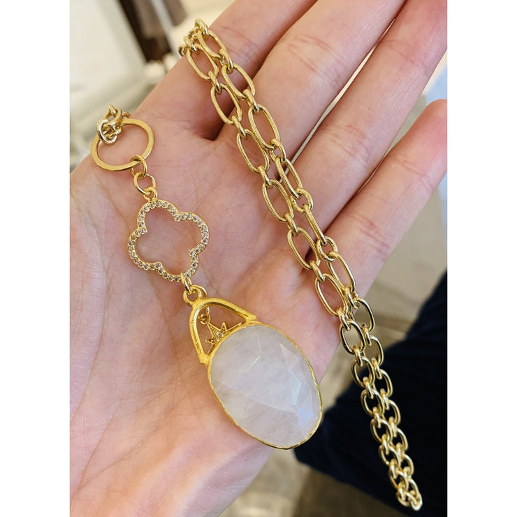 Moonstone Long Pendant Necklace