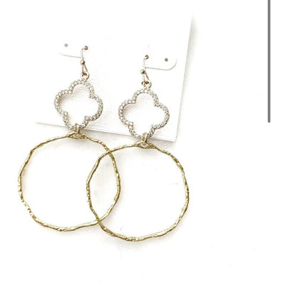 CZ Quatrefoil Hoop Earrings