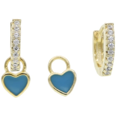 Blue CZ Huggies with Removable Heart Charm