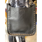 Black Vegan Messenger with Studs