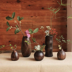 Handcraft Paulownia Bamboo Wood Flower Vase