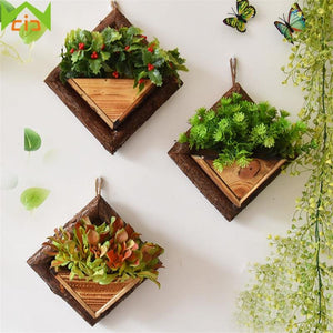 Handmade Frame Succulent Plants Wooden Wall Mounted