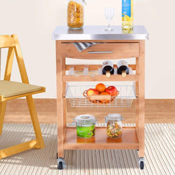 Rolling Kitchen Trolley Storage Island Serving Cart