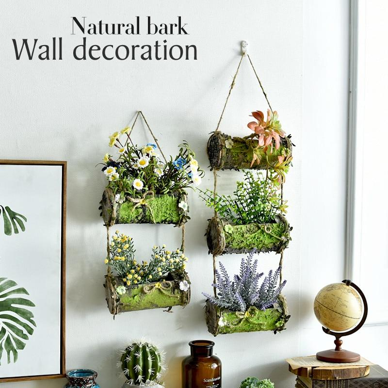 Natural Bark Hanging Baskets Flower Pots