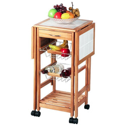 Kitchen Island Storage Drawers Baskets Cart Stand Brown