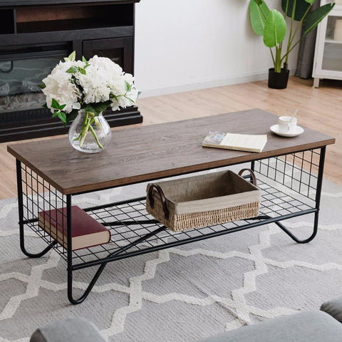 Coffee Accent Cocktail Sofa Side Table W/Lower Shelf