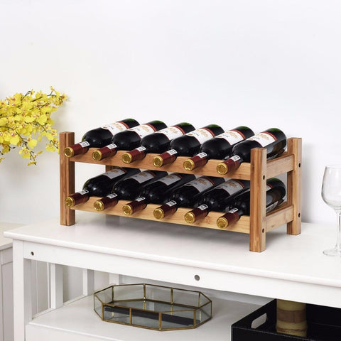 12 Bottles Bamboo Wine Rack Display Storage Shelf