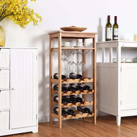 2-Tier 12 Bottles Bamboo Wine Rack Display Storage Shelf