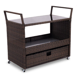 Rolling Portable Rattan Wicker Kitchen Trolley Cart