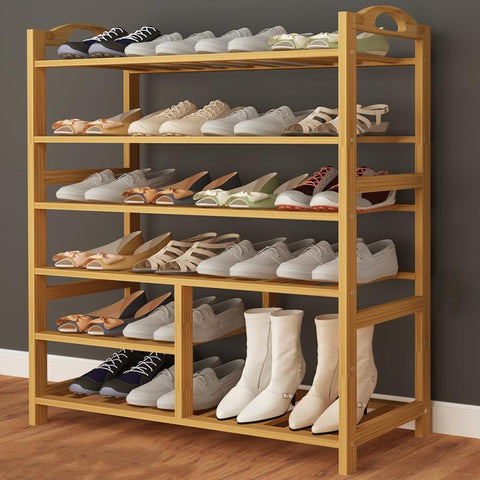 Bamboo Wood Shoe Rack Entryway Organizer ,