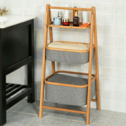 Foldable Bamboo Bathroom Shelf Units
