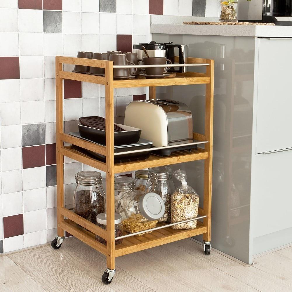 Kitchen Serving Trolley Cart Cupboard with Casters