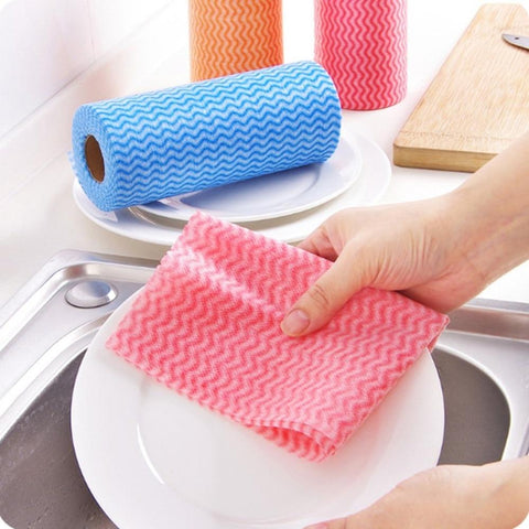 50pcs/Roll Non-woven Kitchen Cleaning Cloth Disposable Eco-friendly Rags