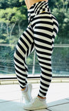 Black and White Striped Draped Waist Legging
