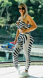 Black and White Striped Mesh Legging