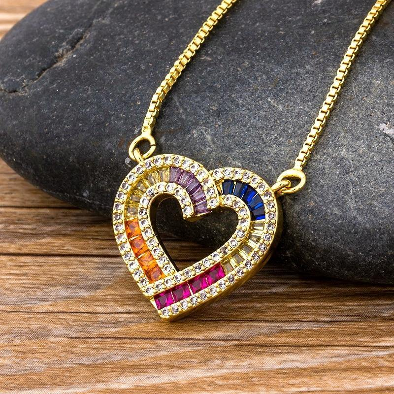 Multicolor Heart Necklace - rosetose