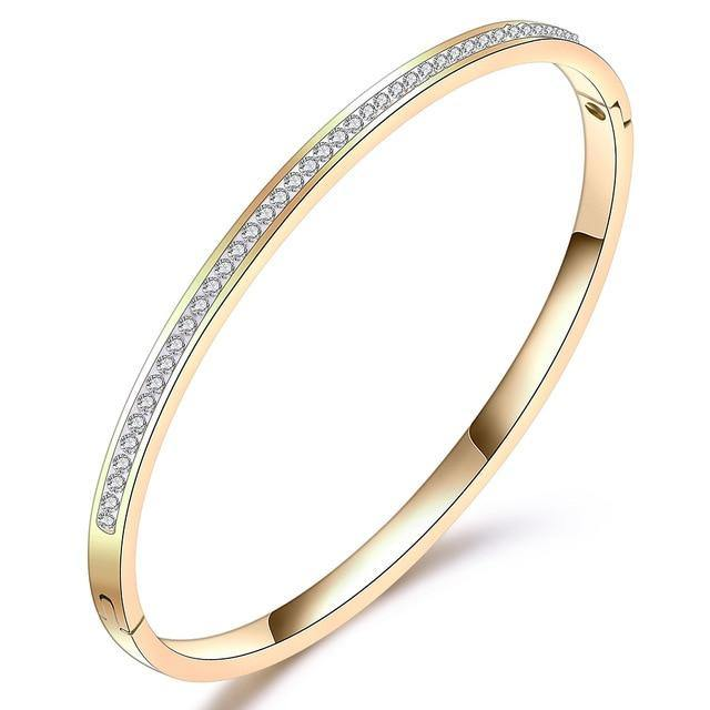 Crystal Stainless Steel Bangle - rosetose