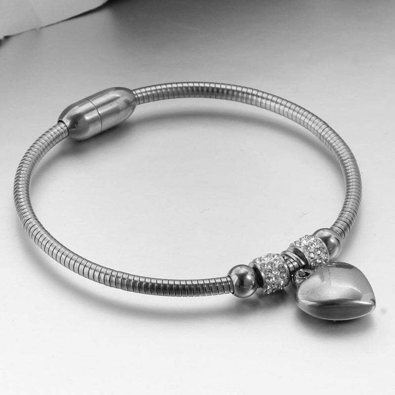 Heart Stainless Steel Charm Bangle - rosetose