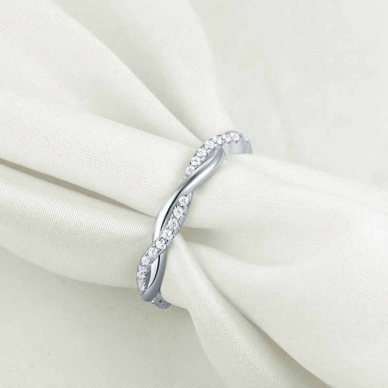 Twist Cubic Zirconia 925 Sterling Silver Ring - rosetose