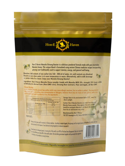 Hon-e Haven Manuka honey and Ginseng Booster powder