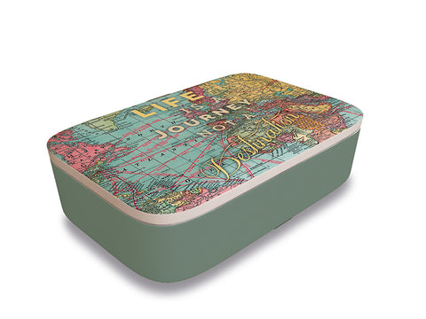 Bamboo lunchbox with map design