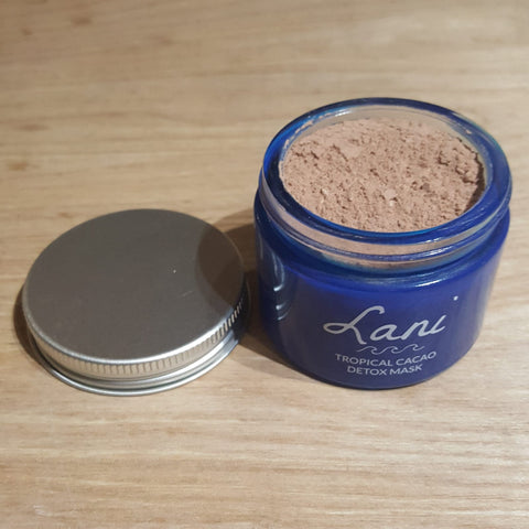 Lani Plastic Free Cacao Face Mask, jar open showing chocolate coloured powder