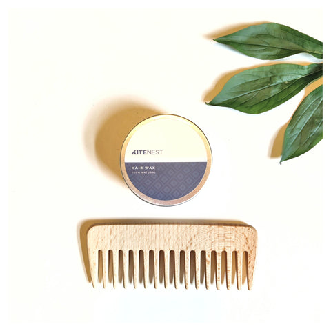 Plastic free, natural hair wax and wooden comb