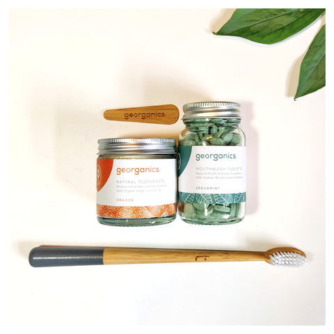 Bamboo toothbrush, plastic free toothpaste and mouthwash tablets