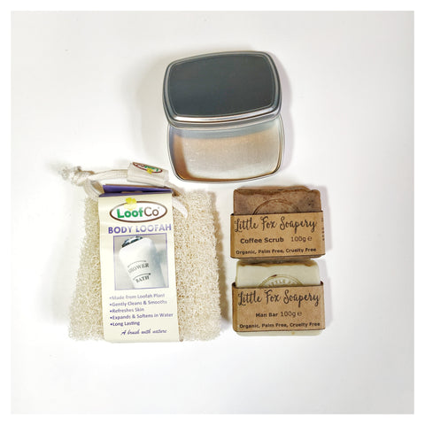 Natural body loofah, soap tin and handmade, plastic free soaps