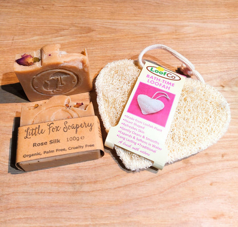 Plastic free, natural rose soap and natural heart shaped loofah