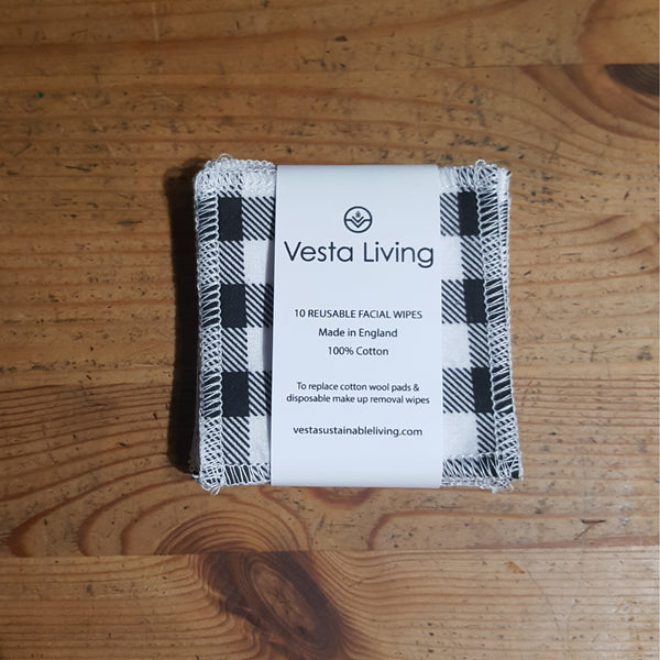 Reusable face wipes - black and white checked