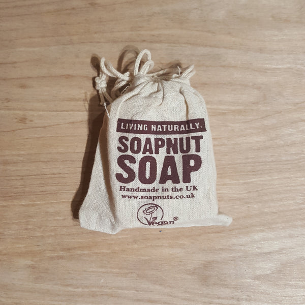 Lavender and geranium soap nut soap bar in bag