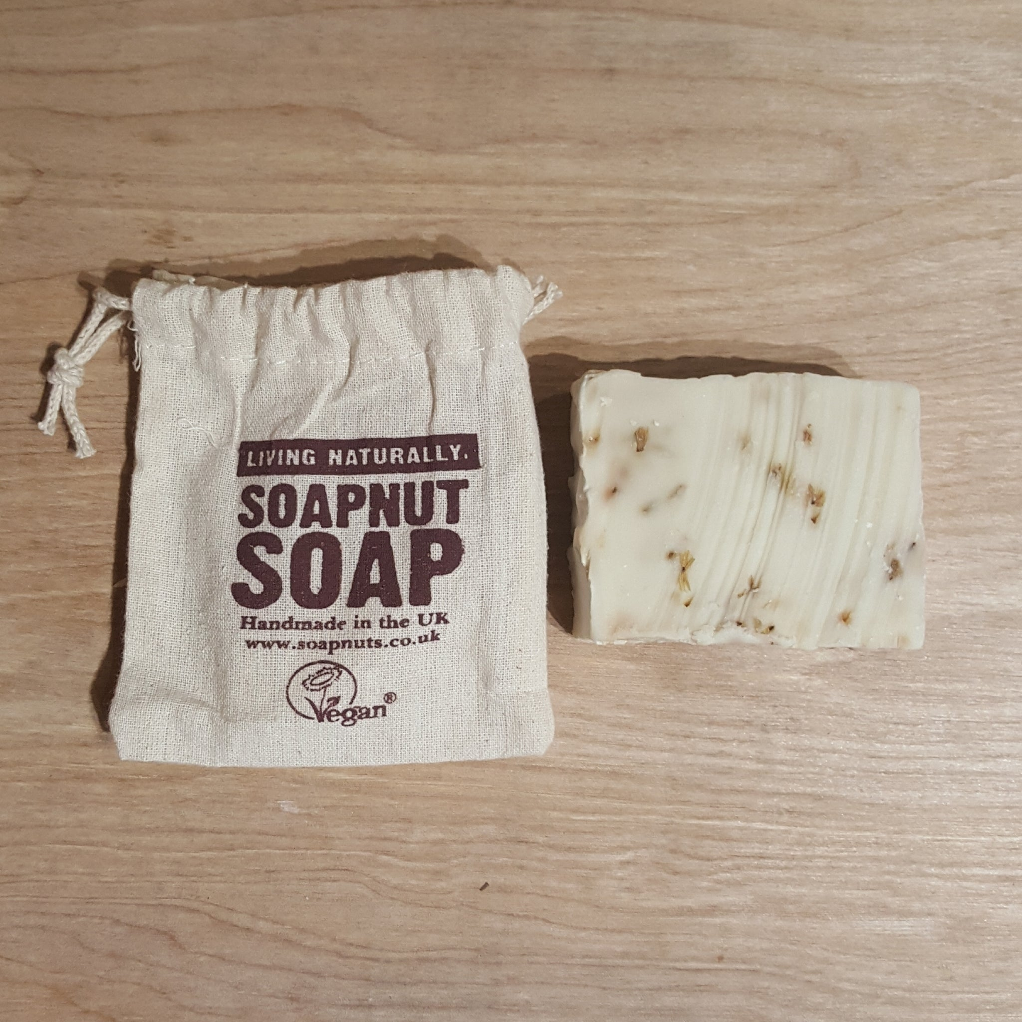 Lavender and geranium soap nut soap - bag and soap bar