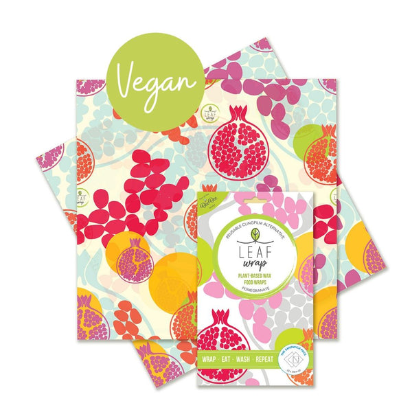 Beebee Leaf Vegan Wax Wraps - Sandwich 2 pack - Pomegranate design