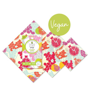 Beebee Leaf Vegan Wax Wraps - Mixed 3 pack - Pomegranate design