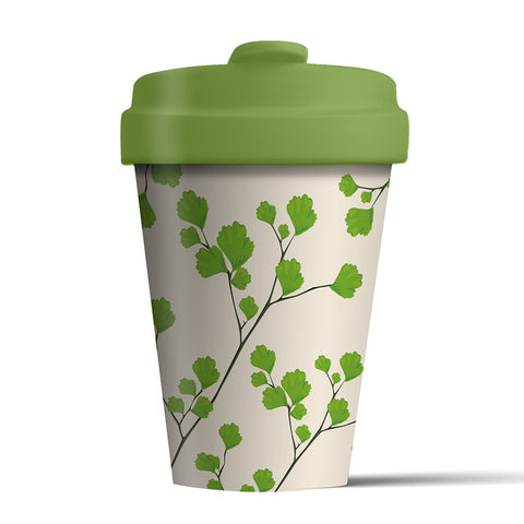 Reusable bamboo coffee cup - Gingko design