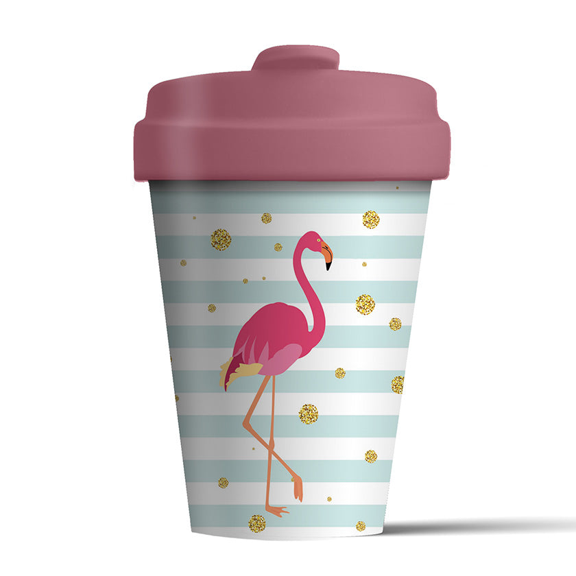 Reusable bamboo coffee cup -  flamingo