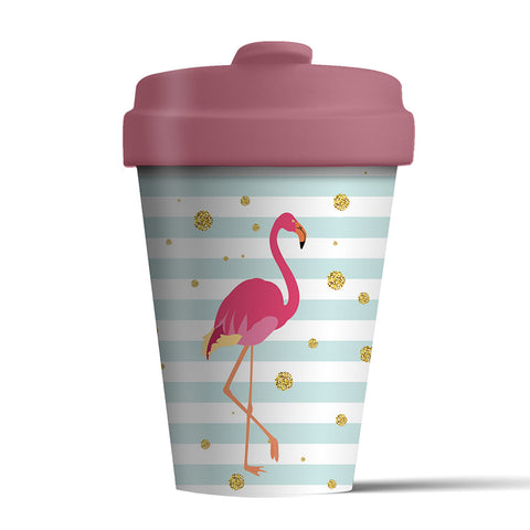 Reusable bamboo coffee cup - Flamingo design