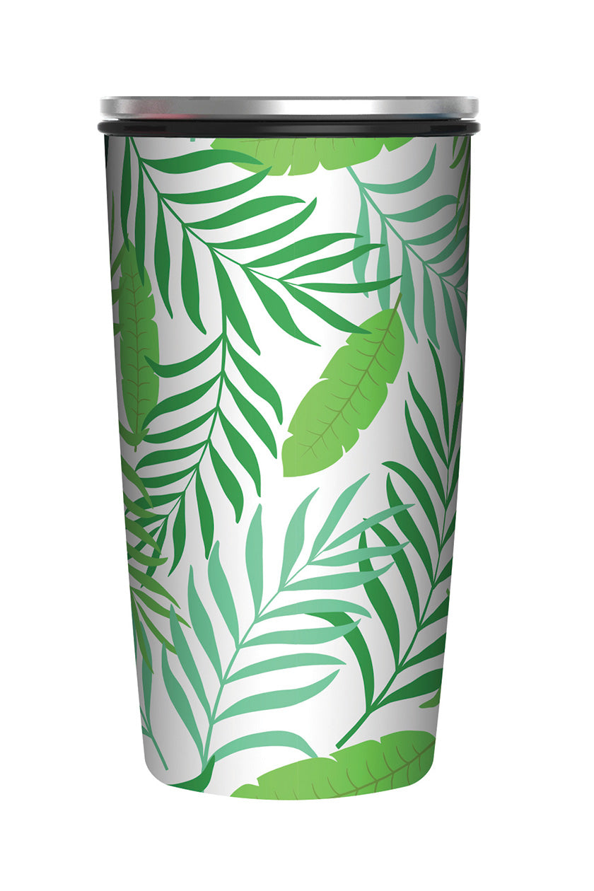 Reusable Bamboo Coffee Flask - Tropical Leaves