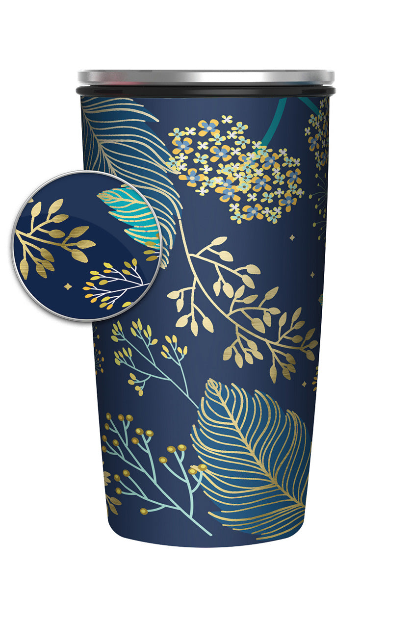 Reusable Bamboo Flask - Blue and Gold Leaves