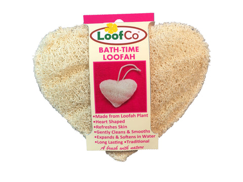 Plastic free, natural heart shaped loofah