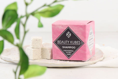 Natural plastic free Beauty Kubes shampoo - normal to dry hair