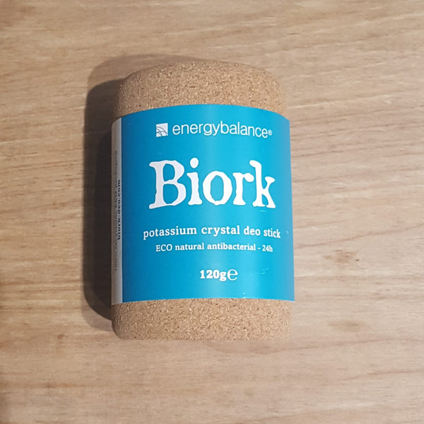 Biork natural, plastic free crystal deodorant - front of pack