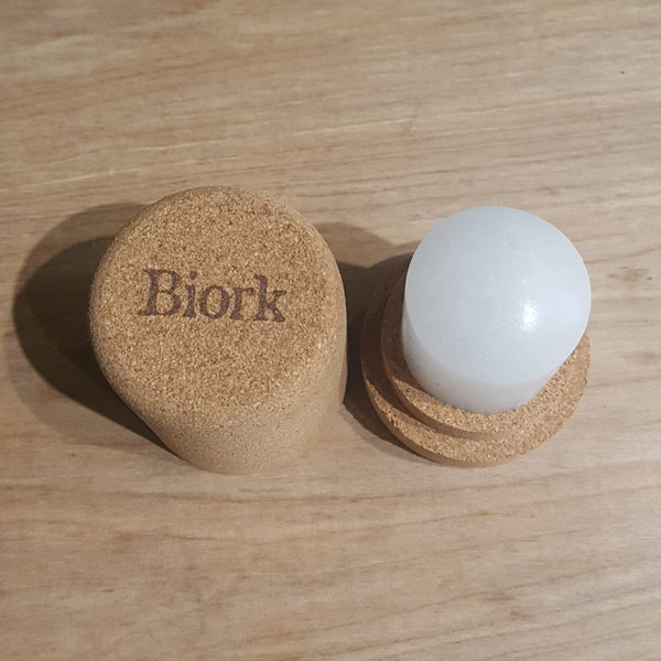 Biork natural, plastic free crystal deodorant - open from the top