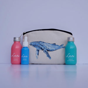 Lani Tropical Gift Set - Body oil, serum, hair treatment and blue whale wash bag