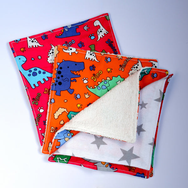 Jefferson Crafts reusable baby wipes with dinosaur designs