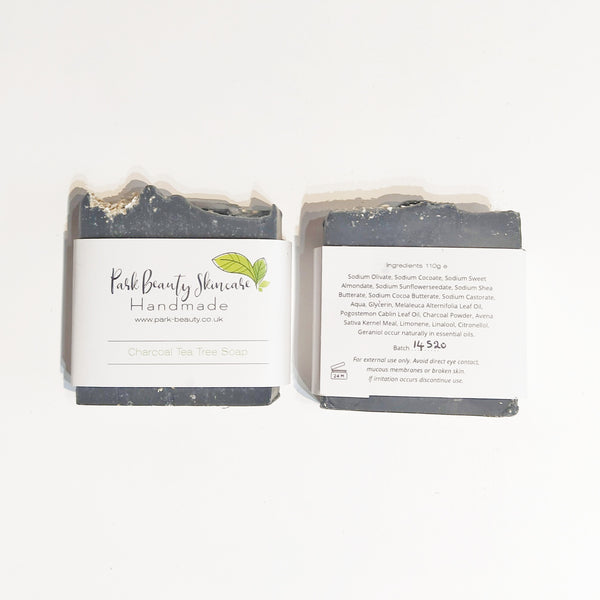 Park Beauty Charcoal and Tea Tree Soaps showing front and back of paper label
